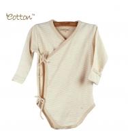 Eotton 100%有機棉嬰兒間條長袖三角爬和尚袍