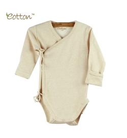 Eotton 100%有機棉嬰兒淺啡色長袖三角爬和尚袍