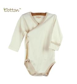Eotton 100%有機棉嬰兒米白色長袖三角爬和尚袍
