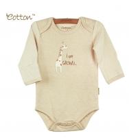 Eotton 100%有機棉嬰兒長袖長頸鹿三角爬內衣