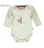 Eotton 100%有機棉嬰兒長袖猴子三角爬內衣