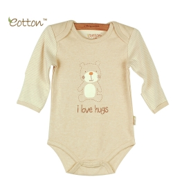 Eotton 100%有機棉嬰兒長袖小熊三角爬內衣