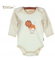Eotton 100%有機棉嬰兒長袖獅子三角爬內衣