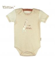 Eotton 100%有機棉嬰兒短袖長頸鹿三角爬內衣