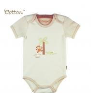 Eotton 100%有機棉嬰兒短袖猴子三角爬內衣