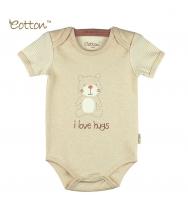 Eotton 100%有機棉嬰兒短袖小熊三角爬內衣