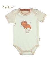 Eotton 100%有機棉嬰兒短袖獅子三角爬內衣