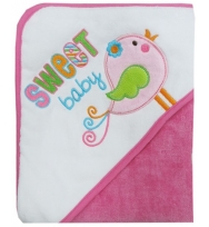 "Luvena Fortuna Cotton Velour  Terry Hooded Pink Towel embroidered ""Sweet Baby"""