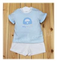 "Mayoral 可愛繡""Baby Car"" 藍白色 間條短袖 tee 及 白色短褲套裝"