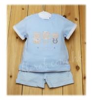 Mayoral 可愛繡小熊藍色短袖 tee 及 藍白色間條短褲套裝