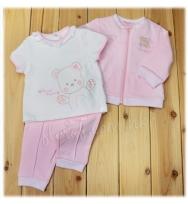 Mayoral 繡小熊圖案的柔軟白色 短袖Tee、小熊圖案的粉色長袖外套 及粉色長褲套裝