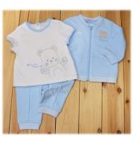 Mayoral 繡小熊圖案的柔軟白色 短袖Tee、小熊圖案的藍色長袖外套 及藍色長褲套裝