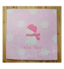 Mayoral 超級柔軟及溫暖的繡北極熊 粉色珊瑚绒嬰兒氈