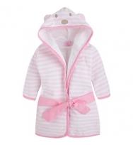 Mayoral 純棉及粉白色間條的連小熊帽嬰兒浴袍