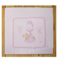 Mayoral 繡小熊圖案的粉白色柔軟高級嬰兒包被