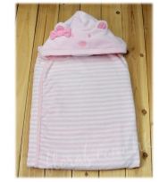 Mayoral 純棉及粉白色間條連小熊帽的嬰兒包被浴巾