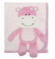 Rock a Bye Baby Super Soft 3D  Hugging Hippo Baby Blanket